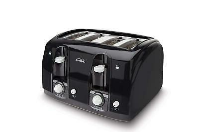 professional 4 slice toaster stainless steel black