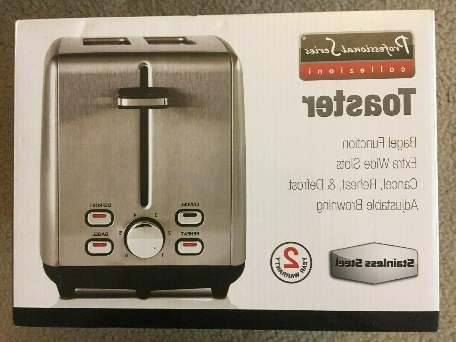stainless 2 slice toaster wide slots multifunction