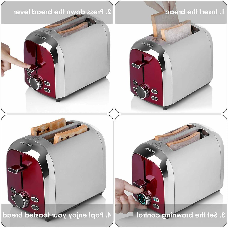 BESTEK Steel 2-Slice Digital Wide Slot Bagel