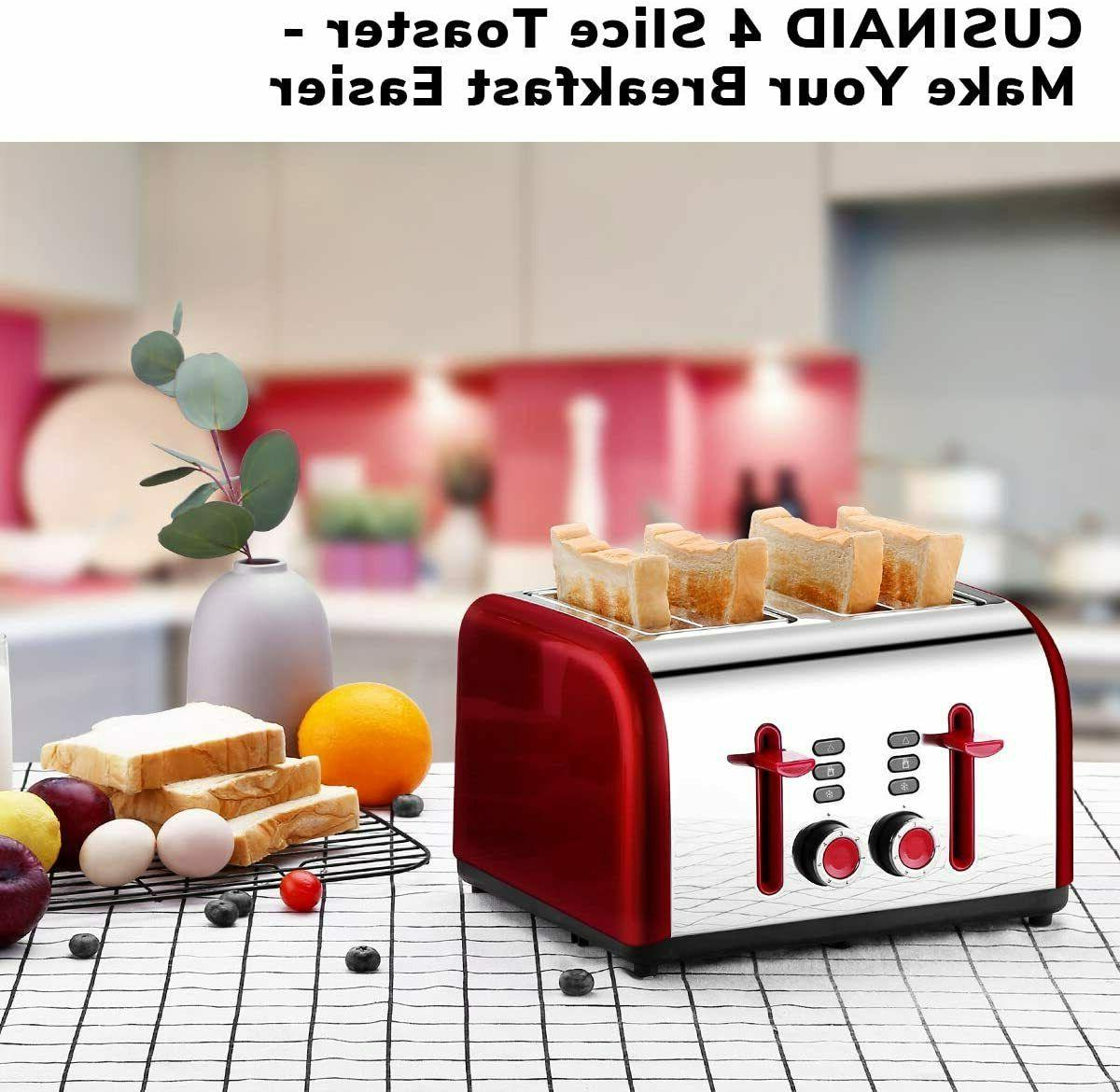 Toaster 4 Slice, 4 Wide Stainless Toasters with Reheat
