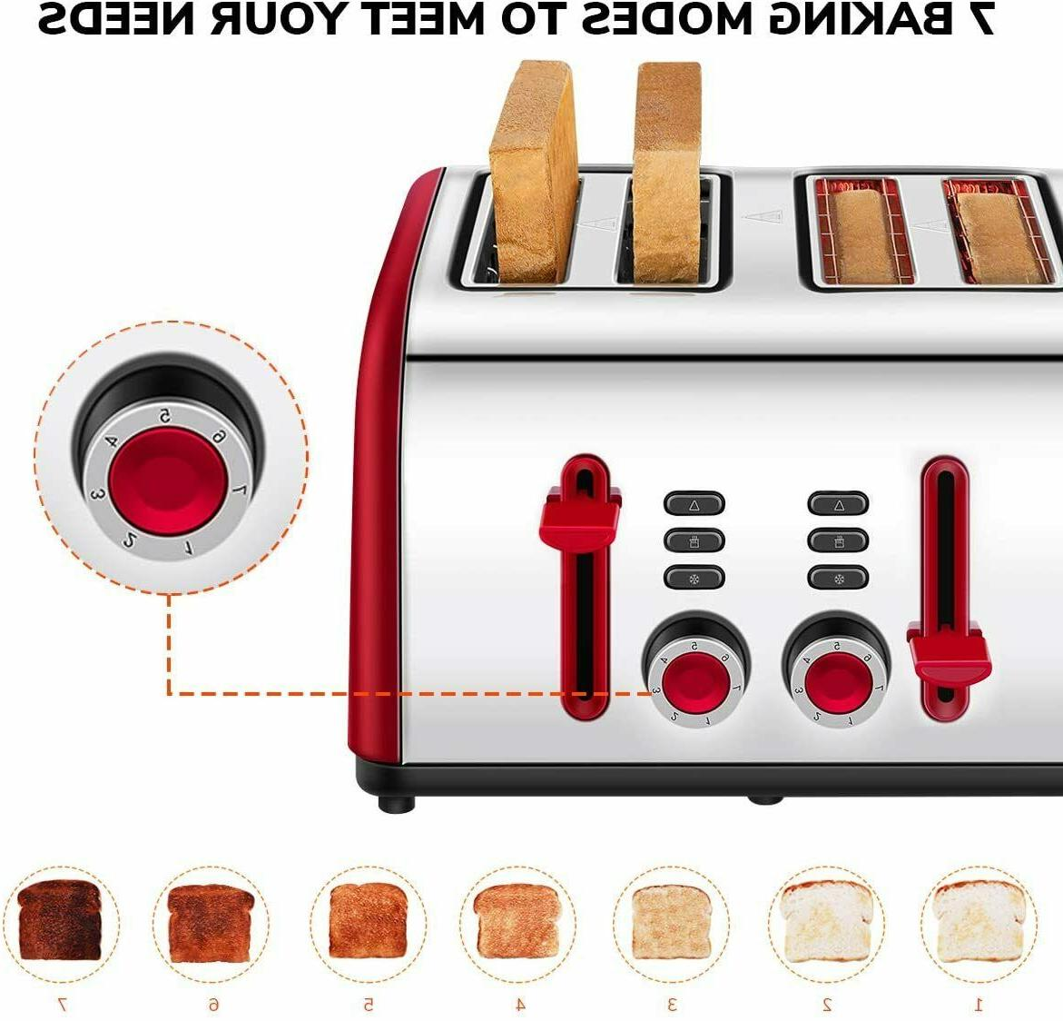 Toaster 4 4 Wide Steel Toasters with Defrost
