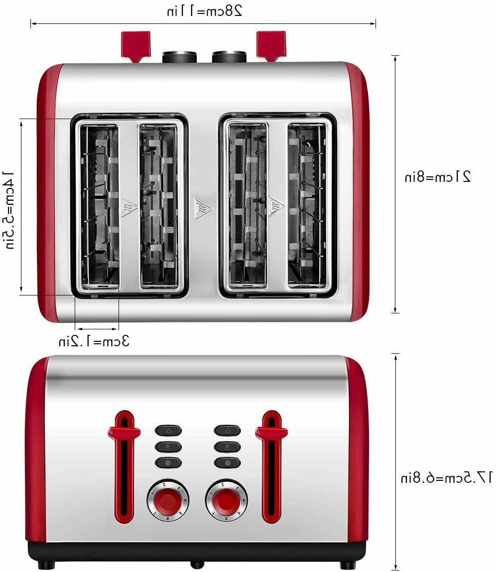 Toaster 4 Slice, Wide Slots Stainless Toasters with