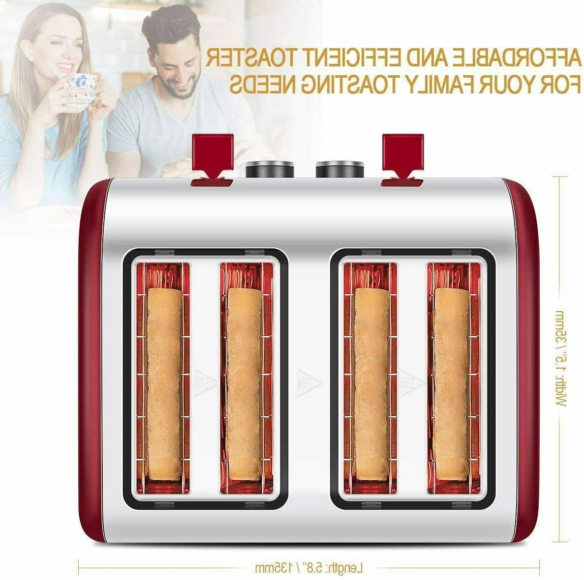 Toaster 4 Slice, Wide Slots Toasters with Reheat Defrost