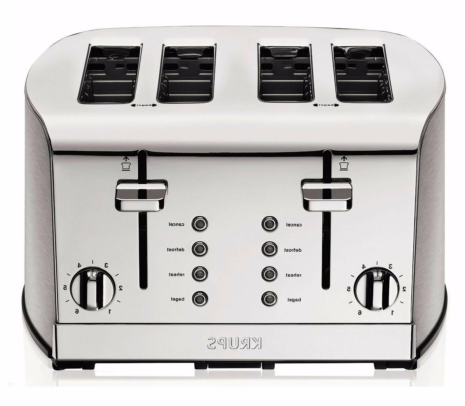 Toaster/ Brushed and Chrome Stainless Steel KRUPS KH734D Bre