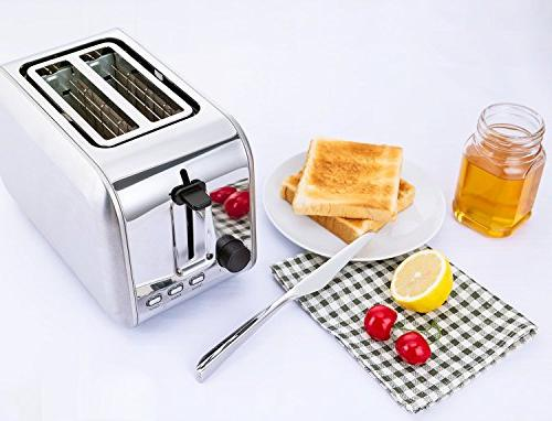 Toasters 2 Rated Wide Slots Toaster Toaster With Cancel Reheat Muffins, Bagels, Silver