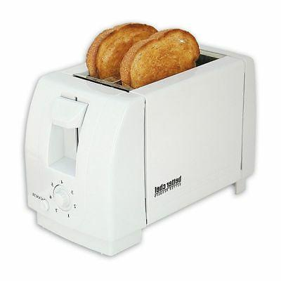 White Compact Toaster Bread Slice Bagel Buns Waffle Toaster