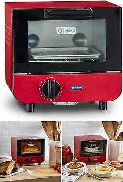 Mini Toaster Oven Cooker Red Metal Electric Compact Design R