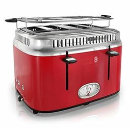NEW Russell Hobbs 4-Slice Retro Style Toaster, Red & Stainle