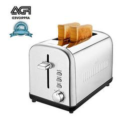 NEW Brushed Stainless Steel 2 Slice Toaster With Defrost and