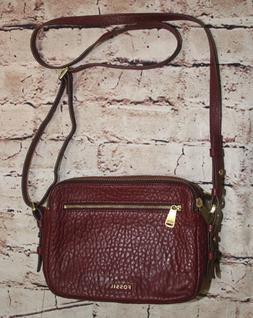 New FOSSIL PIPER TOASTER Burgundy red LEATHER CROSSBODY purs