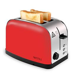 LATITOP Red 2-Slice Toaster Brushed Stainless Steel with Ext