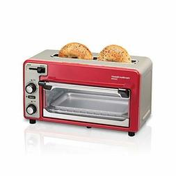 Retro Red 2 Slice Toaster Oven Combo Wide Slot Compact Pizza