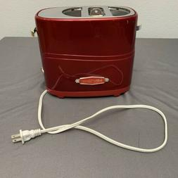 Retro Series 2-Slice Red Long Slot Hot Dog and Bun Toaster w