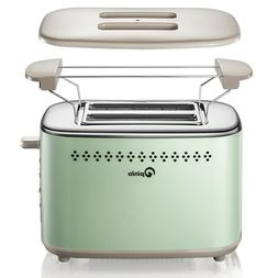 Retro Toaster Oven 2 Slice Stainless Steel Extra Wide Slot R