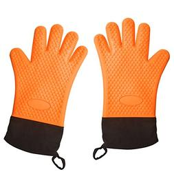 Silicon BBQ Gloves Heat Resistant Oven Mitts for Grilling Ba