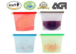 Silicone Food Bag, Reusable Airtight Seal Food Storage Conta