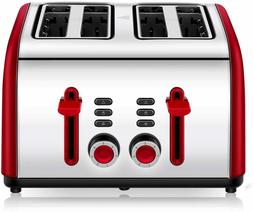 toaster 4 slice 4 wide slots stainless