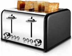 Toaster 4 Slice, CUSIBOX Stainless Steel Toaster with Bagel,