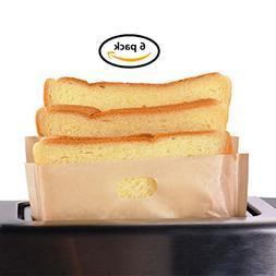 Toaster Bags Willceal,Pack of 6,Beige Non Stick Heat Resista