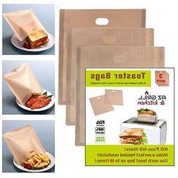 """Toaster Bags 6,7"""" x 7,5"""" Set of 3 Non-stick Teflon Reusable,"""