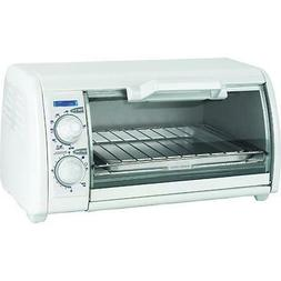 Black & Decker Toaster Oven, Bakes and Broils, White, 4 Slic