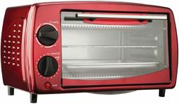 Toaster Oven Stainless Steel, 4-Slice, Red