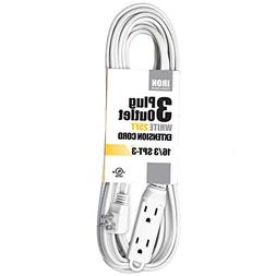 25 Ft White Extension Cord with 3 Electrical Power Outlet -