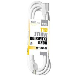 6 Ft White Extension Cord - 16/3 Durable Electrical Cable