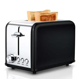 Small Wide Slot Black Toasters Two Slice, Stainless Steel Ki