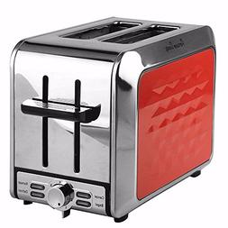 Stainless Steel 2 Slices Red Toaster by Fortune Candy